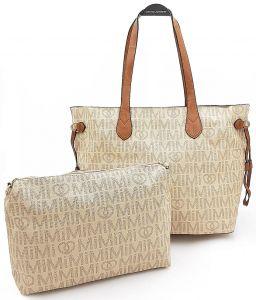 Béžová prostorná kabelka s kosmetickou taškou