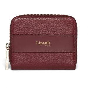Lipault Dámská kožená peněženka Invitation Compact – vínová