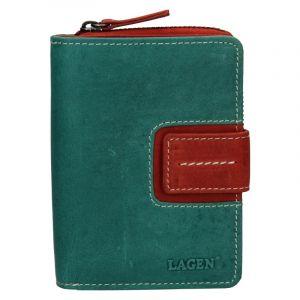 Dámská kožená peněženka Lagen Senie – zeleno-červená