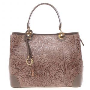 Originální dámská kožená kabelka tmavá taupe – ItalY Mattie taupe