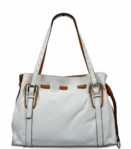 Bílá kožená kabelka Maria Bianca Camel