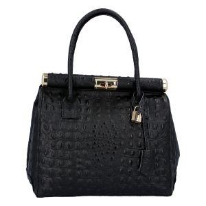 Luxusní dámská kožená kabelka do ruky černá – ItalY Hyla Kroko černá