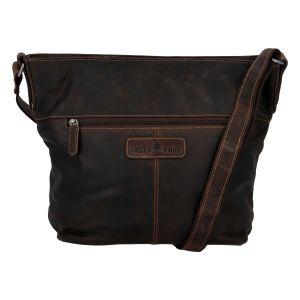 Dámská kožená kabelka přes rameno tmavě hnědá – Greenwood Fluxis hnědá