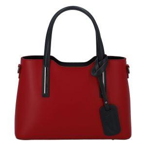Menší kožená kabelka červeno černá – ItalY Alex červená