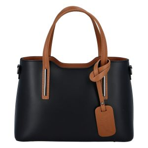 Menší kožená kabelka černo hnědá – ItalY Alex černá