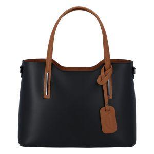 Větší kožená kabelka černo hnědá – ItalY Sandy černá