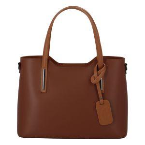 Větší kožená kabelka hnědo koňaková – ItalY Sandy hnědá