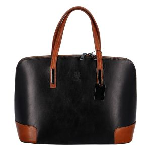 Dámská kožená kabelka černo koňaková – ItalY Angezis černá