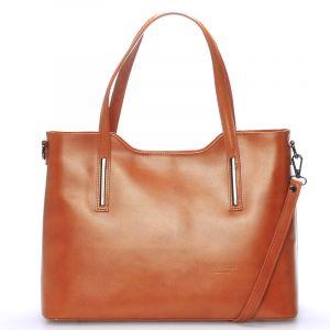 Větší kožená kabelka světle hnědá – ItalY Sandy hnědá