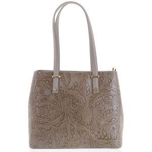 Exkluzivní dámská kožená kabelka tmavá taupe – ItalY Logistilla taupe