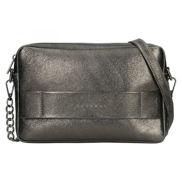 Trendy dámská kožená crossbody kabelka Facebag Ninas – šedo-stříbrná