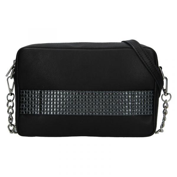Trendy dámská kožená crossbody kabelka Facebag Ninas – černo-stříbrná