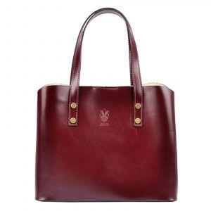 Dámská kožená kabelka Vera Pelle Hannah – vínová