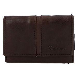 Kožená tmavě hnědá peněženka – Delami 9386 hnědá