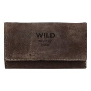 Dámská kožená peněženka tmavě hnědá – WILD Riga hnědá