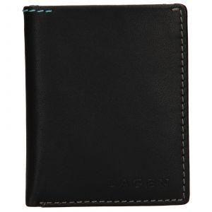 Pánská kožená slim peněženka Lagen Revo – černá