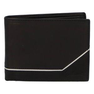 Pánská kožená peněženka černá – Delami Seum černo/bílá