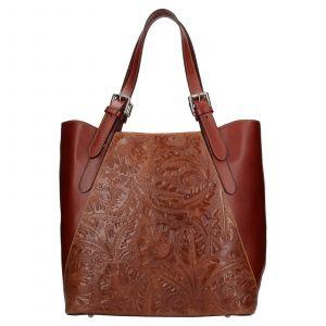 Dámská kožená kabelka Vera Pelle Berta – hnědá