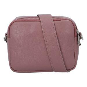 Kožená crossbody kabelka růžová – ItalY Quadro růžová