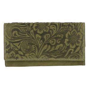 Dámská kožená peněženka zelená se vzorem – Tomas Kalasia zelená