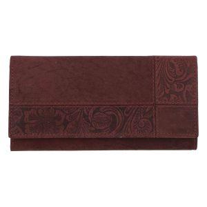 Dámská kožená broušená peněženka vínová – Tomas Farbe vínová