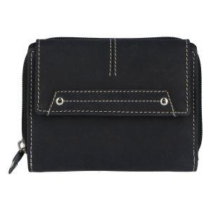 Dámská kožená peněženka černá broušená – Tomas Oraigy černá
