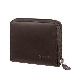Samsonite Kožená peněženka na zip Attack 2 SLG 323 RFID – tmavě hnědá
