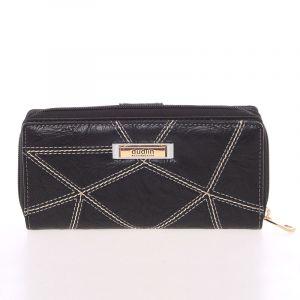 Větší prošívaná černá dámská peněženka – Dudlin M358 černá