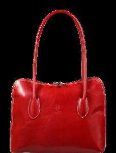 Červená dámská kožená kabelka do ruky Palagio Rossa