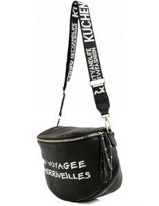 černá crossbody kabelka s nápisem vel. univerzální 114477-406025