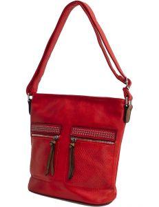 červená shopper kabelka se cvočky vel. univerzální 114658-406634