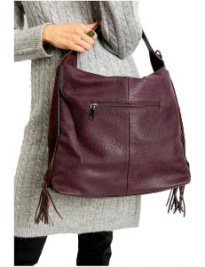 Bordó shopper kabelka s třásněmi vel. univerzální 114664-406640