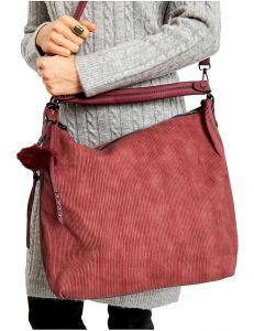 Bordó shopper kabelka s chlupatým přívěskem vel. univerzální 114666-406642