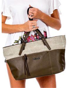 Zeleno-béžová shopper kabelka vel. univerzální 114668-406644