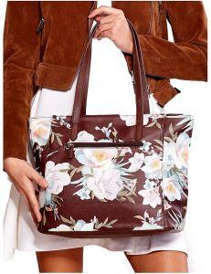 Hnědá shopper kabelka s květinovým vzorem vel. univerzální 114669-406645