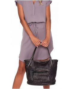 Dámská černá zdobená shopper kabelka vel. univerzální 114673-406649