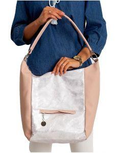 Růžovo-stříbrná shopper kabelka vel. univerzální 114675-406651