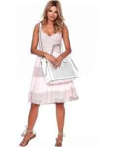 Bílá shopper kabelka s černými detaily vel. univerzální 114677-406653