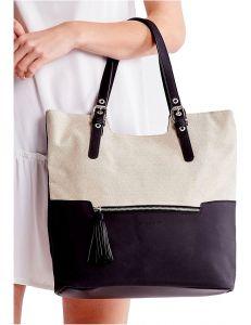 černo-bílá shopper kabelka vel. univerzální 114687-406663