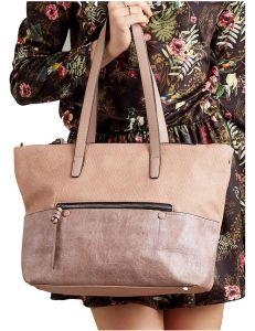 Růžovo-zlatá shopper kabelka se zipem vel. univerzální 114688-406664