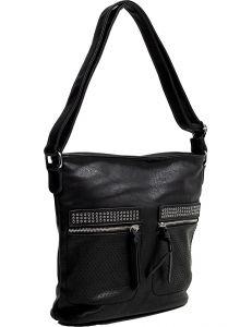 černá shopper kabelka se zipy vel. univerzální 114691-406667