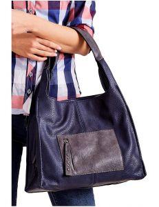 Tmavě modrá shopper kabelka s kapsou vel. univerzální 114695-406671