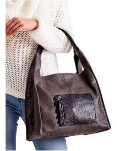 Tmavě hnědá shopper kabelka s kapsou vel. univerzální 114703-406679