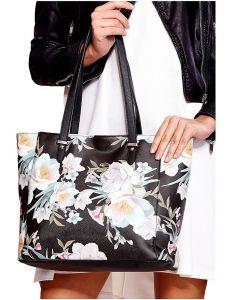 černá shopper kabelka s květinami vel. univerzální 114707-406683