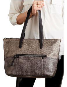 šedo-hnědá lesklá shopper kabelka vel. univerzální 114711-406687