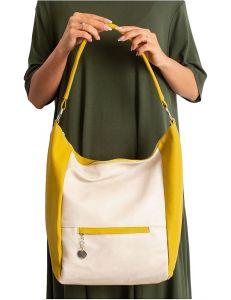 Béžovo-žlutá dámská shopper kabelka vel. univerzální 114712-406688