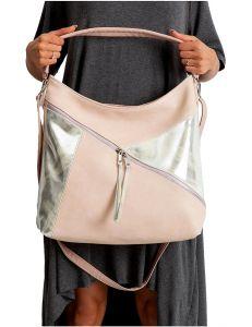Růžovo-stříbrná dámská shopper kabelka vel. univerzální 114713-406689