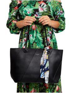 černá shopper kabelka s ozdobným šátkem vel. univerzální 114715-406691