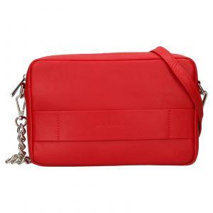 Trendy dámská kožená crossbody kabelka Facebag Ninas – světle červená