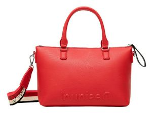 Desigual červená kabelka Bols Embossed Half Logo Padua
